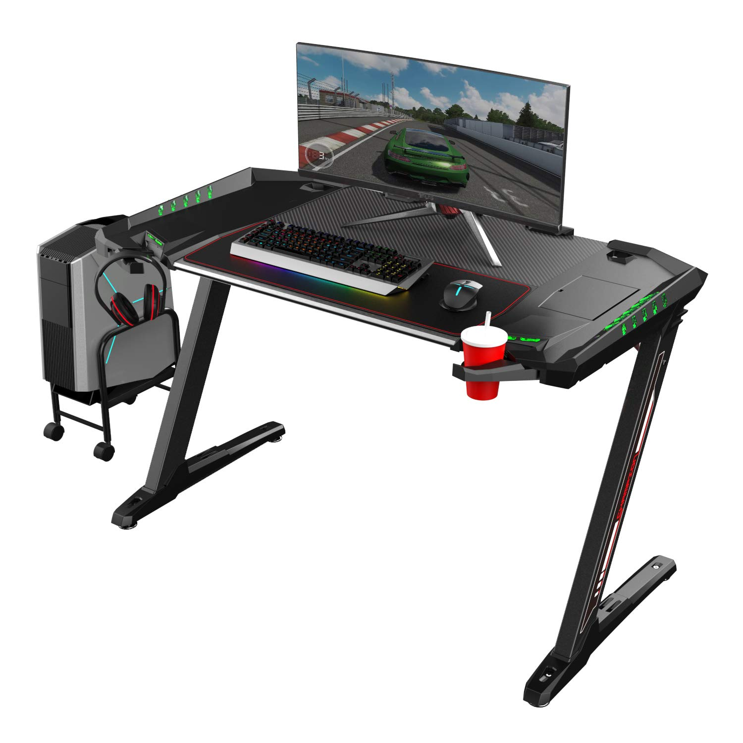 EUREKA ERGONOMIC Z2 Gaming Desk 50.6'' Z Shaped Office PC Computer Gaming Table with Retractable Cup Holder Headset Hook RGB Light for Men Boyfriend Female Gift by Eureka Ergonomic