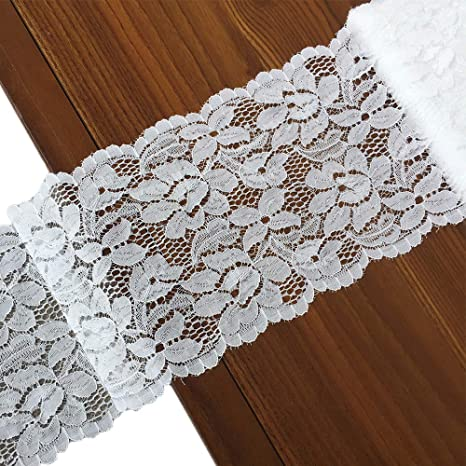 Tulle Lace Ribbon Gift Wrapping Stretch Lace Fabric for Sewing Clothing 2 Inch x 9 Yards White Lace Trim Wedding Decorating