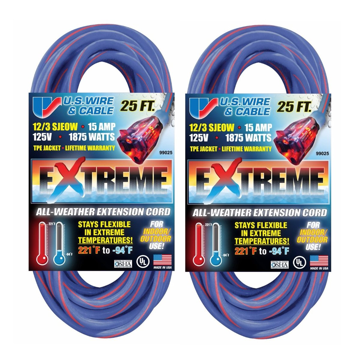 Us Wire 99025 12 3 25 Foot Sjeow Tpe Cold Weather Extension Cord Wiring Blue With Lighted Plug Extention