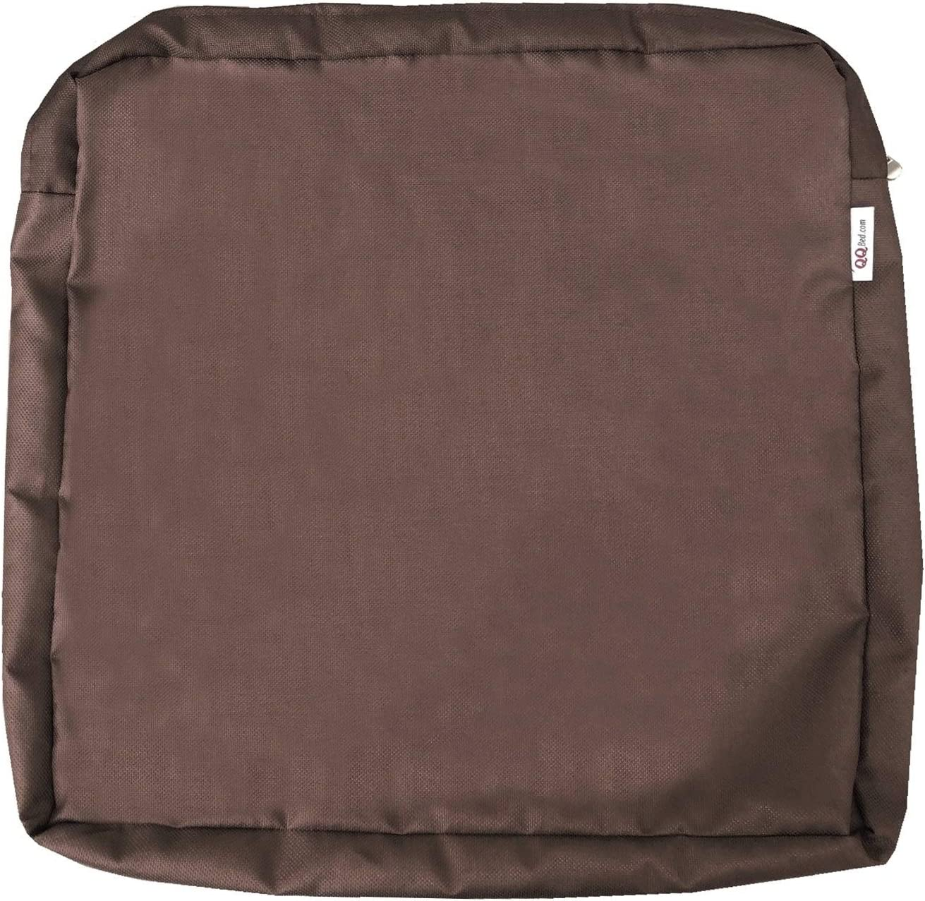 """QQbed 4 Pack Outdoor Patio Chair Washable Cushion Pillow Seat Covers 20""""X18""""X4"""" Size - Replacement Covers Only (20""""X18""""X4"""" 4 Pack, Brown)"""
