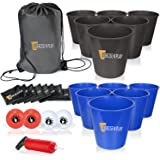 EP EXERCISE N PLAY Backyards Pong Games | Giant Yard Pong Bucket Yard Pong Game Set with 12 Buckets | Toss Game for Family and Friends