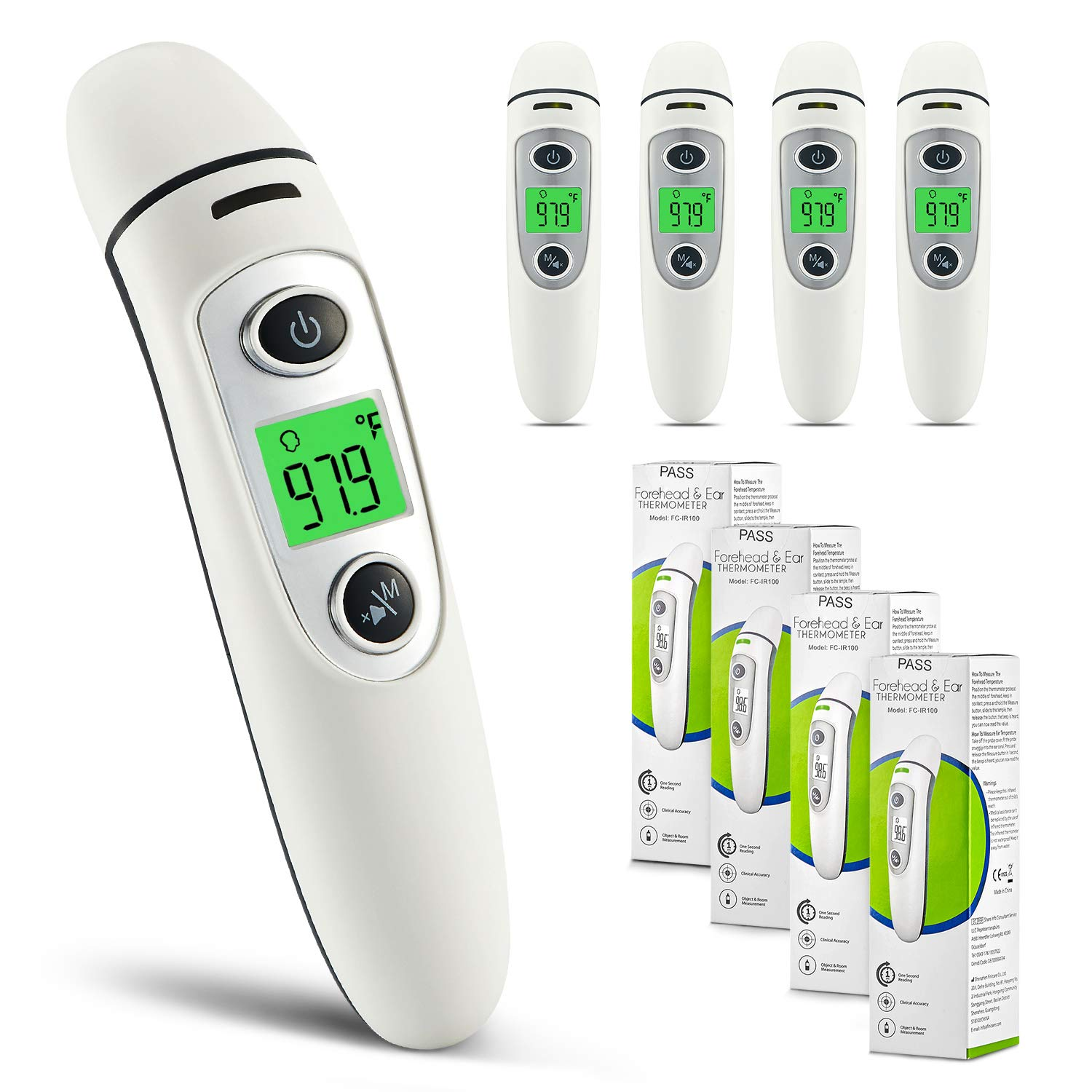 Indoor and Outdoor Use TARAINYA Ear Forehead Thermometer Adults Digital Infrared Temporal Thermometer with Fever Alarm and Memory Function Ideal for Babies Gray Children Infants