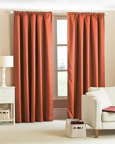 Diamond Woven Blackout Curtains Terracotta 90 X