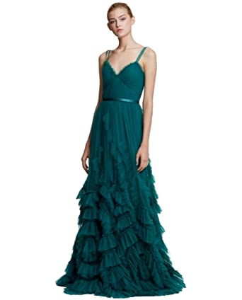 c2d0e8e6 Marchesa Notte Women's Sleeveless Textured Tulle Gown 6 Emerald Green at  Amazon Women's Clothing store: