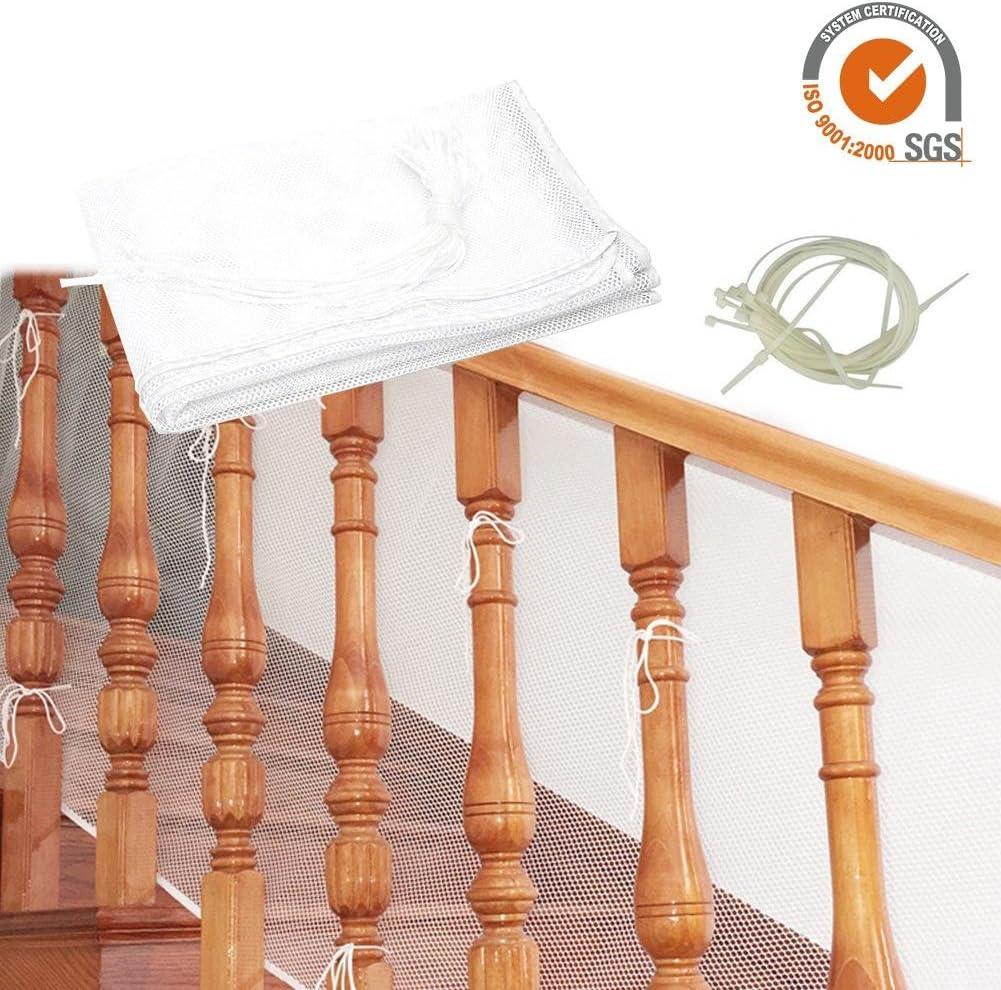 3 M/ètres /épaissie Safe Rail Net Rampe Descaliers Net S/écurit/é des Enfants Pet Toy Escaliers de S/écurit/é Protecteur pour Balcon et Stairway Deck. Starter Filet de S/écurit/é de la Balustrade