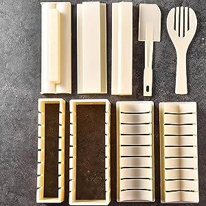 Cjupzi Sushi Rice Ball Mold DIY Rice Ball Mold Perfect ABS Sushi Gift Maker Kitchen Food Making Tool Set Box