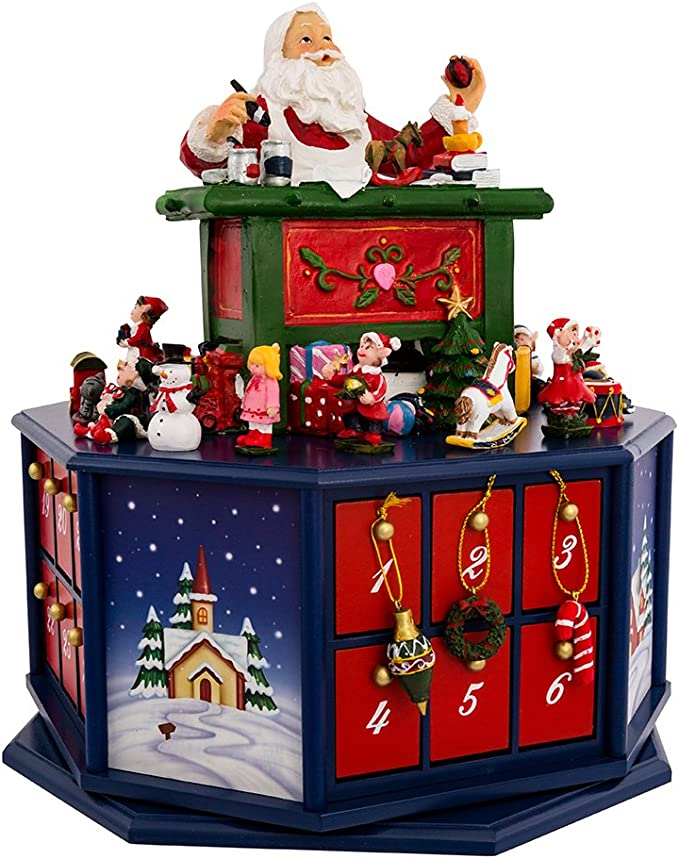 Kurt Adler 12-Inch Santa Workshop Wind-Up Musical Advent Calendar