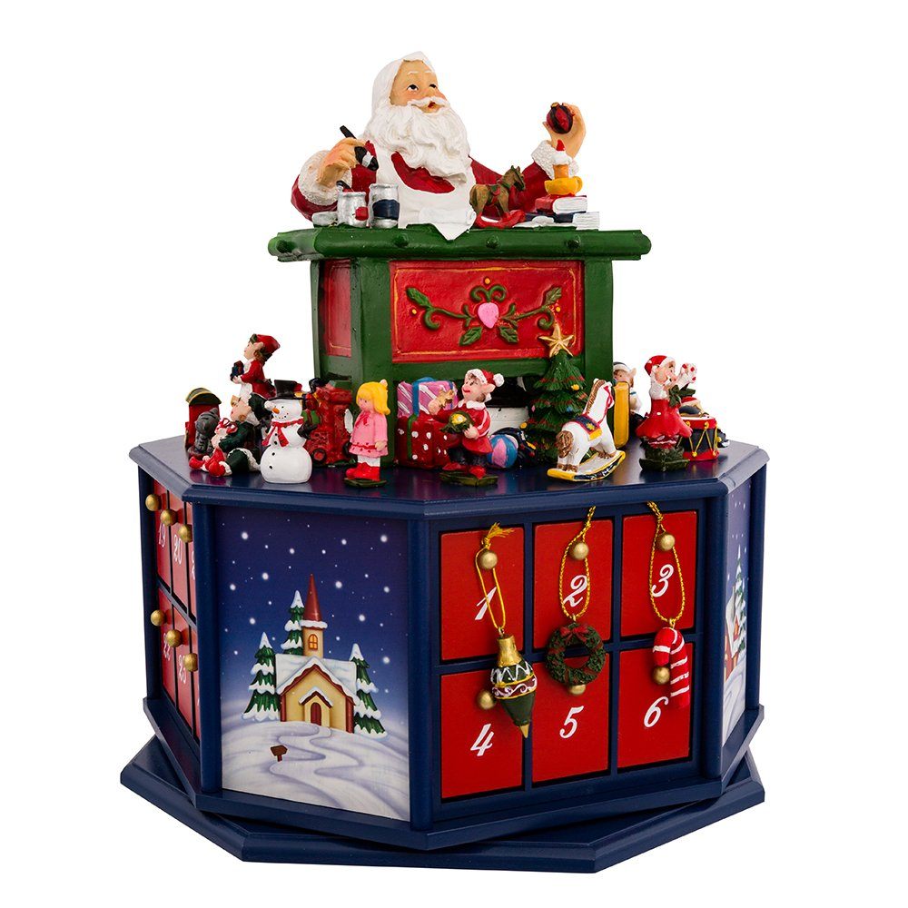 Kurt Adler 12-Inch Santa Workshop Wind-Up Musical Advent Calendar J7705
