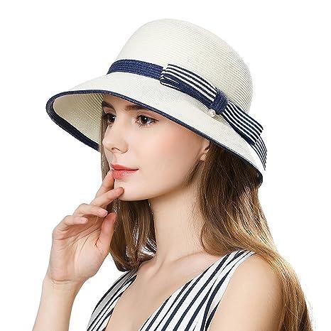 26776ffabba Amazon.com  Womens Sun Summer Straw Beach Hat Floppy Fashion Stylish Travel  Panama Fedora Hats Foldable UV White SiggiHat  Sports   Outdoors
