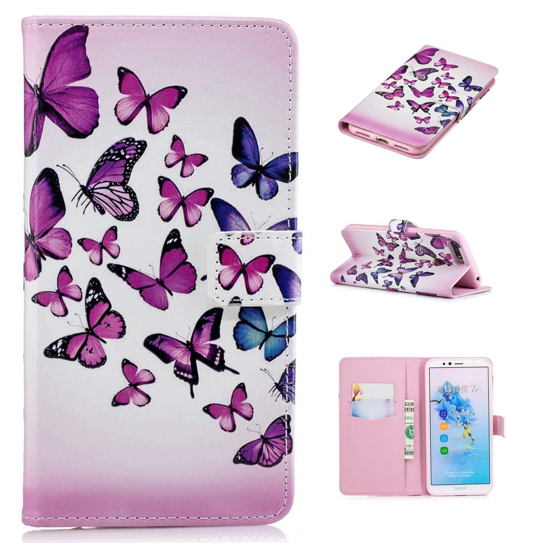 Carols Huawei Y5 2018 Coque, 3D PU Cuir Flip Housse É tui Cover Wallet Case avec Supporter Fermeture Aimanté e pour Huawei Y5 2018 - Licorne LXM-53447