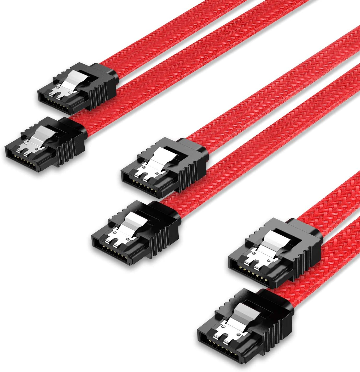 QIVYNSRY 3PACK SATA Cable III 3 Pack 6Gbps Straight HDD SDD Data Cable with Locking Latch 18 Inch for SATA HDD, SSD, CD Driver, CD Writer, Red