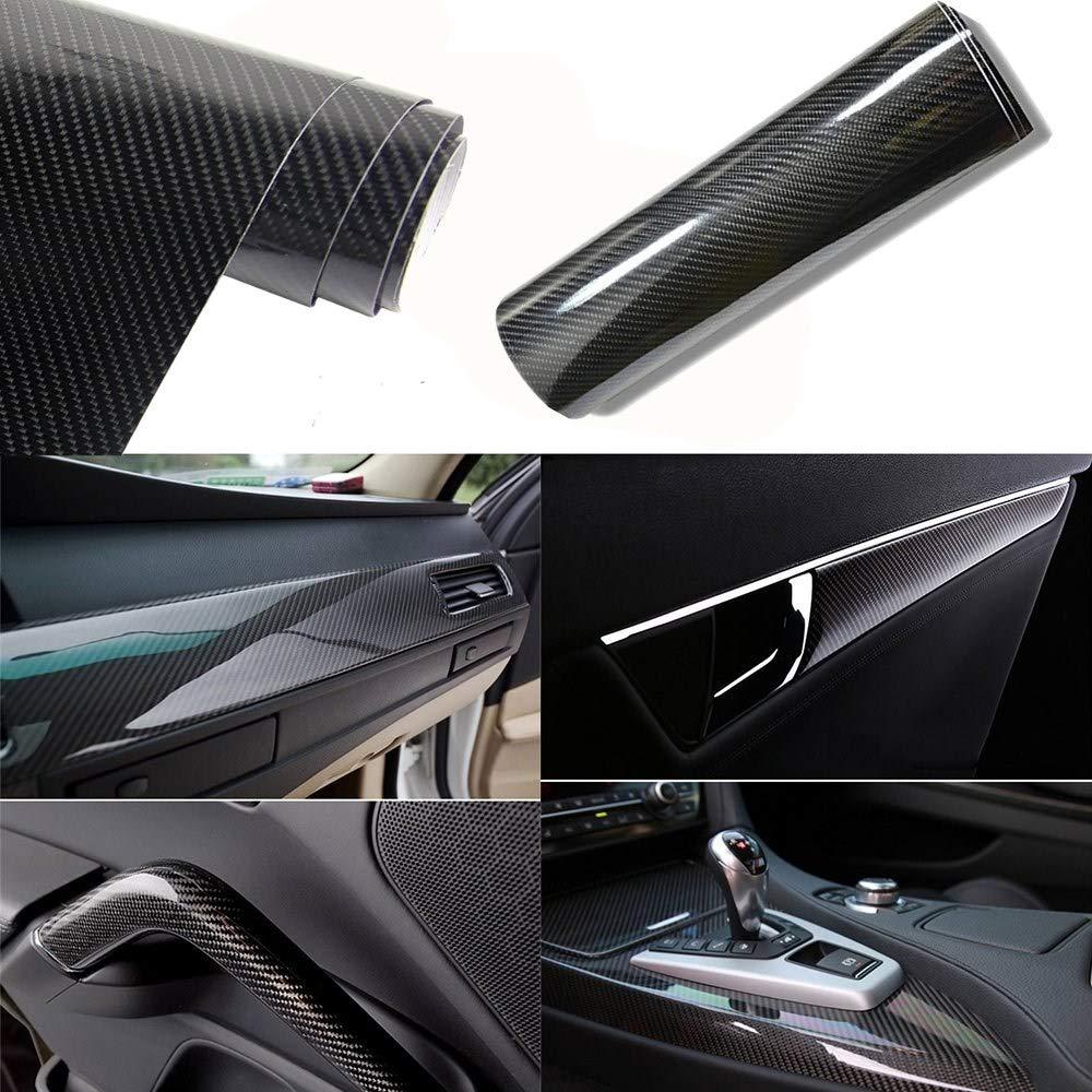 Blu, 30cm Mioke 6D Pellicola Adesiva Protettiva Carbonio,Super High Glossy,1520 x 200mm//300mm,Rivestimento Adesivo per Car Wrapping Auto Moto