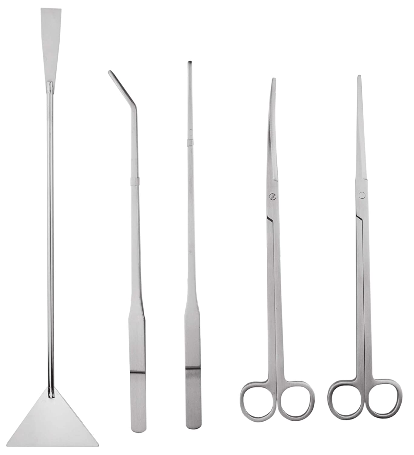SAMYO Stainless Steel Aquarium Aquascaping Kit Aquatic Plant Tweezers Scissor Substrate Spatula Tools Sets - 5 Tools