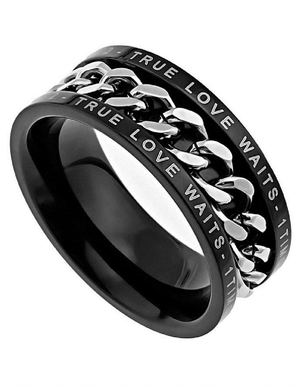 Christian Mens Stainless Steel Abstinence 1 Timothy 4:12 ''True Love Waits'' Chastity Black & Silver Chain Ring for Boys - Guys Purity Ring - Comfort Fit Ring