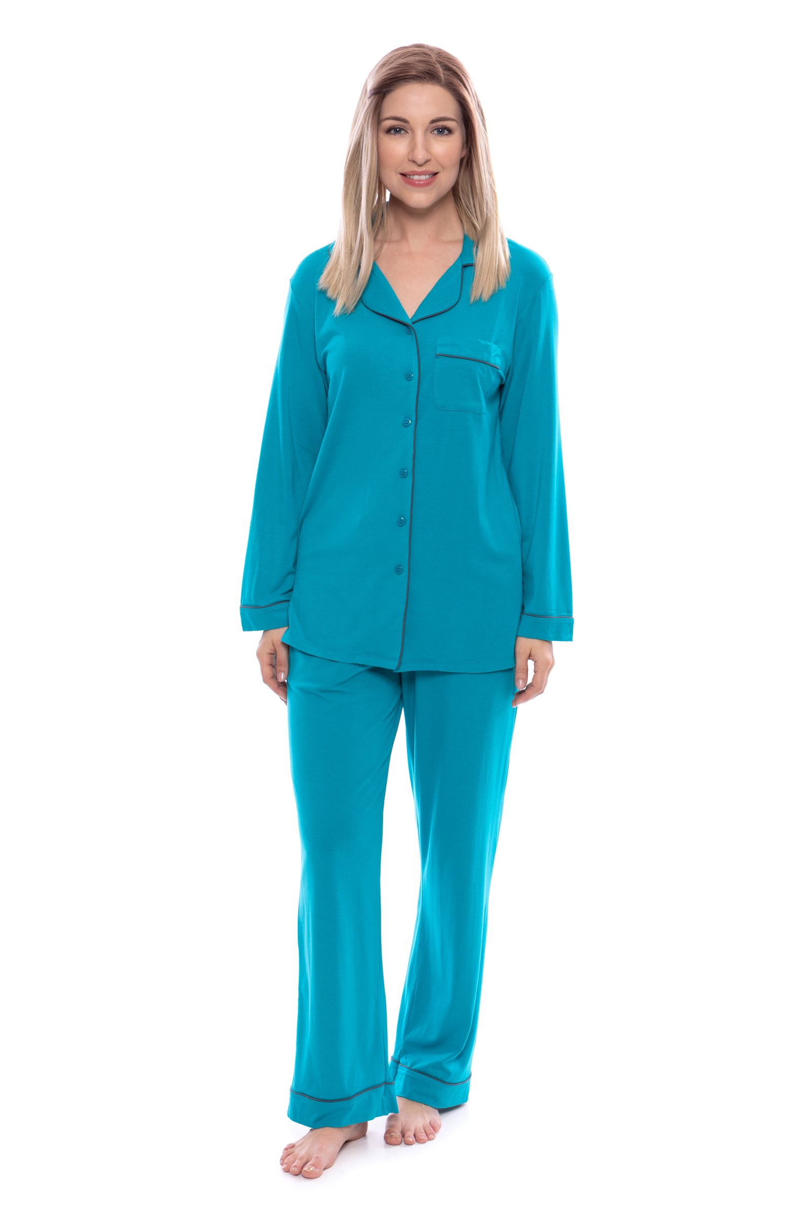 Women's Button-Up Long Sleeve Pajamas - Sleepwear set by Texere (Classicomfort, Capri Breeze, Large/Petite) Elegant Loungewear for Her WB0004-CBZ-LP
