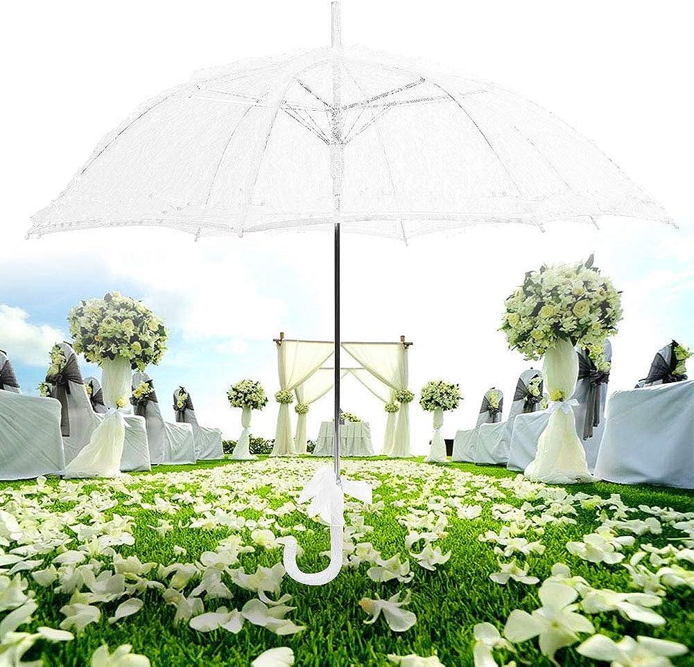 Blanc Dentelle Parasol Parapluie Dame Femmes De Mari/ée en Dentelle Parapluie De Mariage Partie D/écor Photographie Utiliser