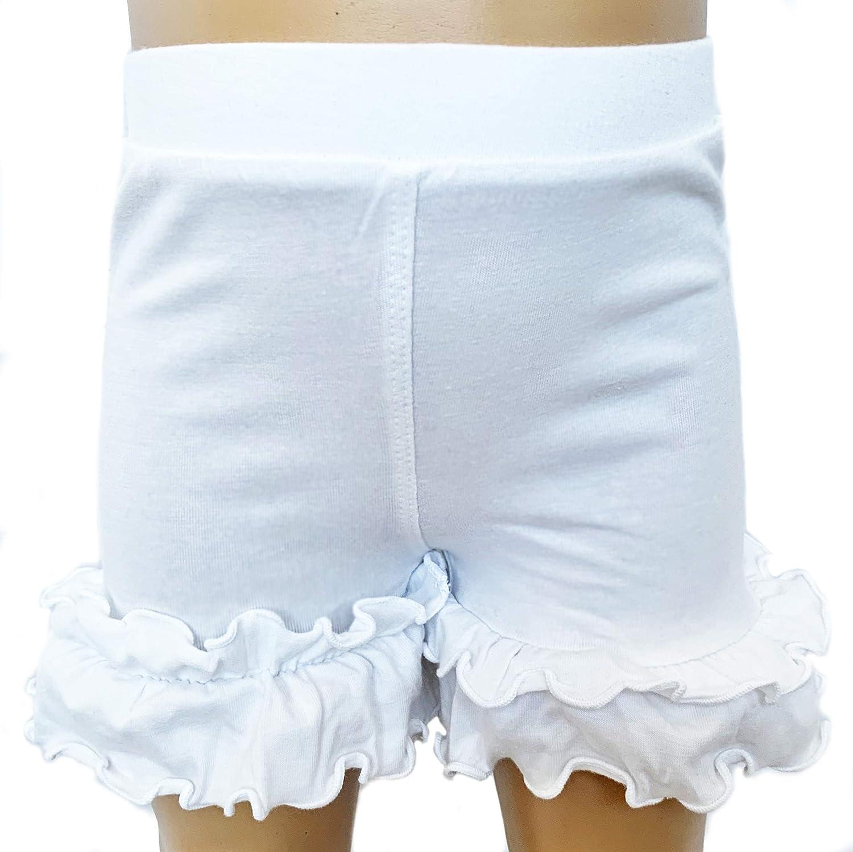 Sizes 4//5T-7//8 AnnLoren Girls Boutique Shorts White Stretch Ruffled Cotton Knit