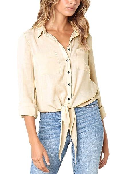 Blusa Elegante Moda Mujer Sudaderas Primavera Bolsillos Delanteros con Botón Manga Larga De Solapa Basic Color