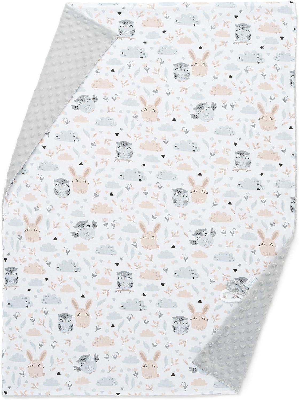 Manta para bebé EliMeli Minky, manta para cochecito de bebé, manta para gatear, hecha de tela muy suave y algodón, ideal como regalo para el verano y la primavera gris Gris – búho y conejo