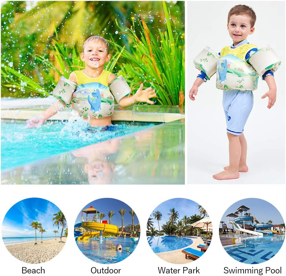 Jasonwell Toddler Swim Vest Float Pool Swim Kids Life Jacket Water Swim Aid Float with Shoulder Harness for 30~55lbs Boys and Girls Yellow3