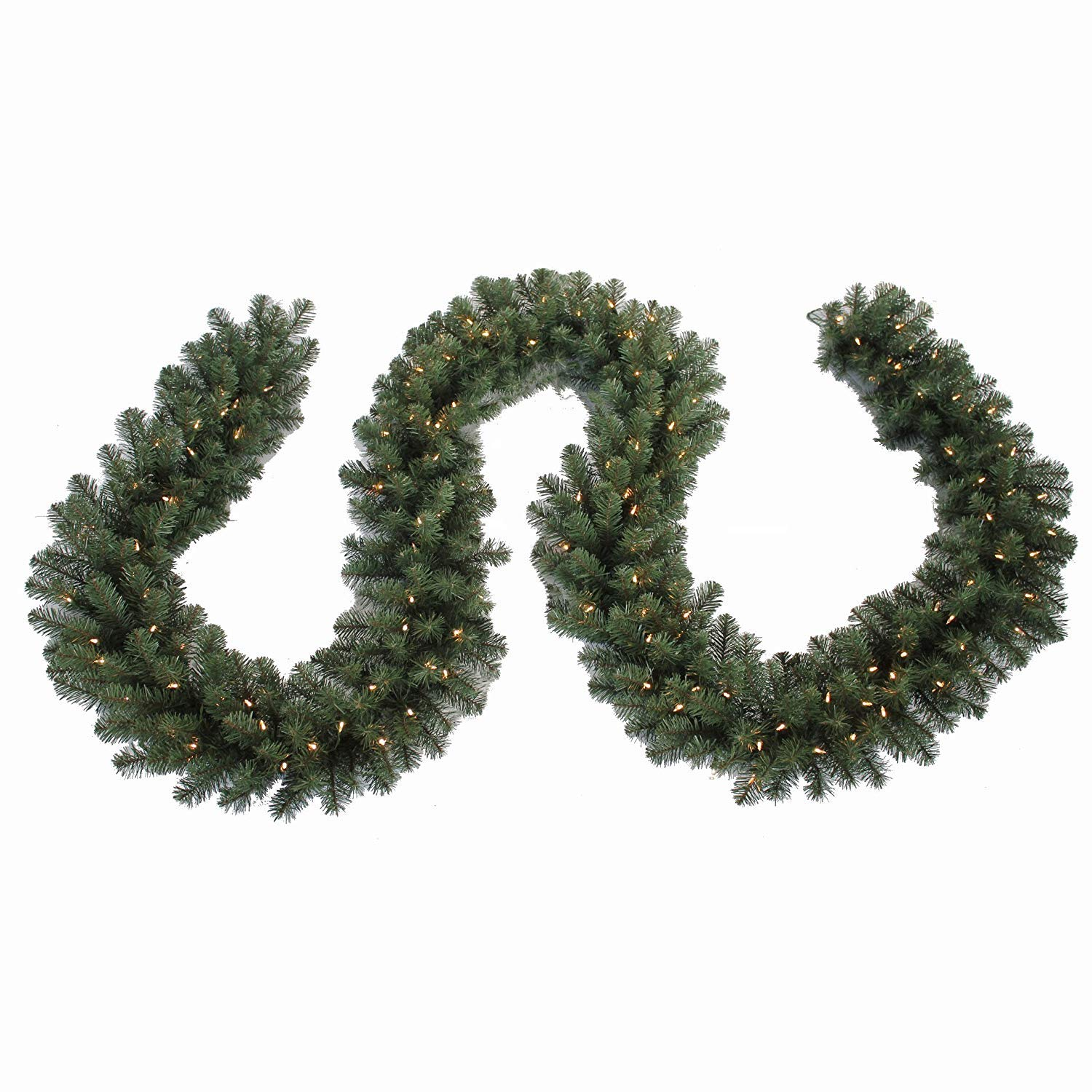 North Pole Originals 15' Long Pre-Lit, Lighted Christmas Garland - 500 Tips, 150 T5 LED Lights - UL Rated for Indoor or Outdoor use (Warm White)