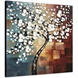 Wieco Art Morning Glory Modern Abstract White Flowers Oil Paintings on Canvas Wall Art 100% Hand Painted Floral Artwork for L