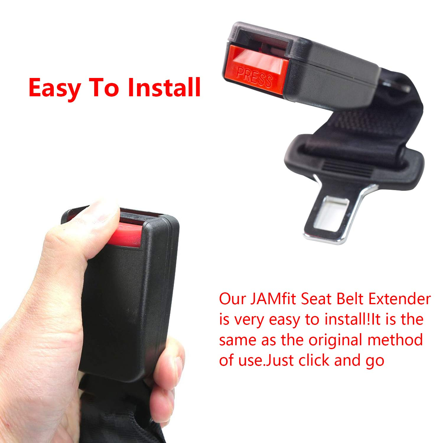 Seat Belt Extender-JAMfit Seat Belt Buckle Extension 3 Packs Black Red for Most Cars Automotive Interior Safety 7//8 Metal Tongue E11 Safety Certified Seat Belt Extension