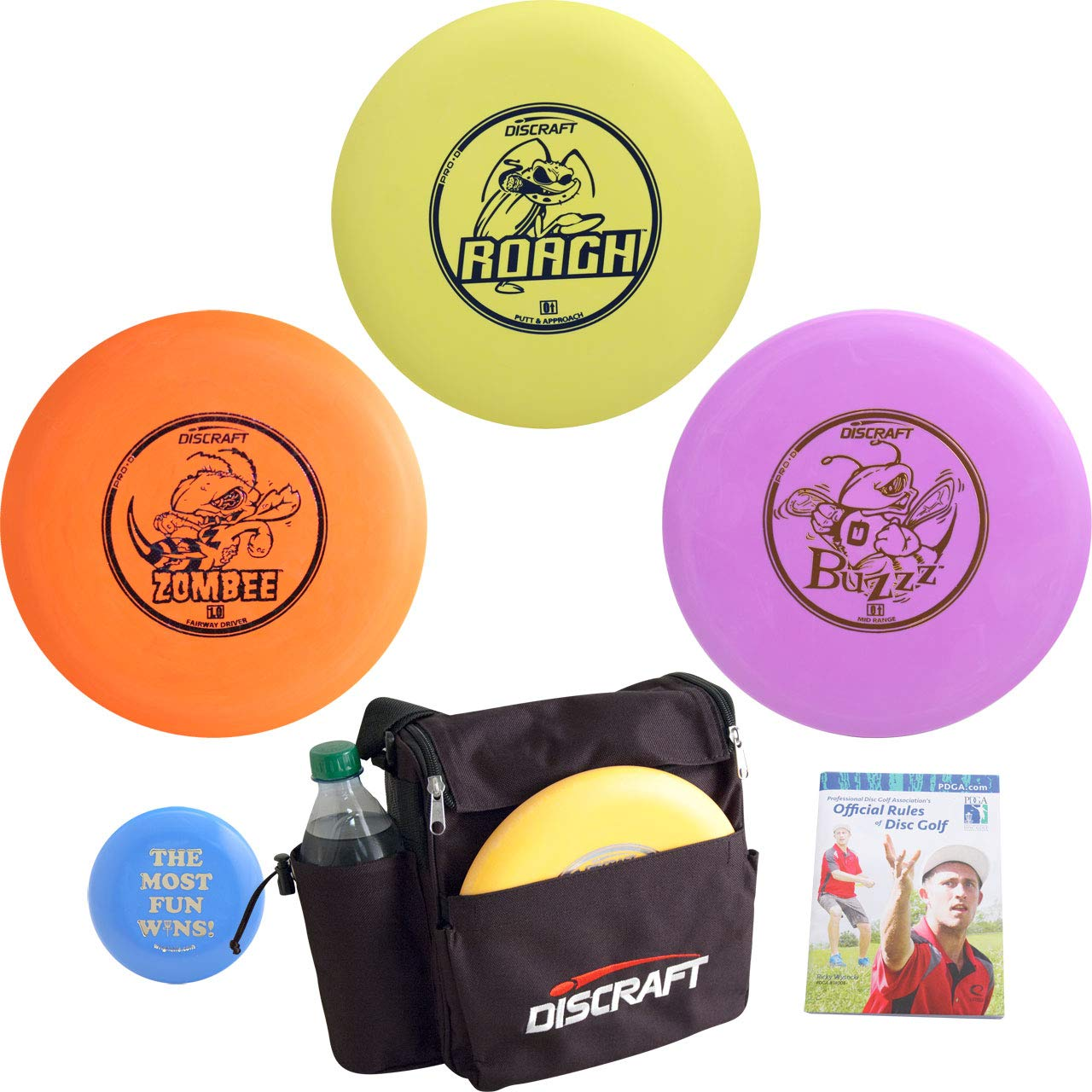 Discraft Complete Disc Golf Gift Set Bundle - Weekender Bag, 3 Discs + Mini Marker Disc & Rules (Colors May Vary) (3 Discs (Driver, mid-Range, Putter, Extras)) by Discraft