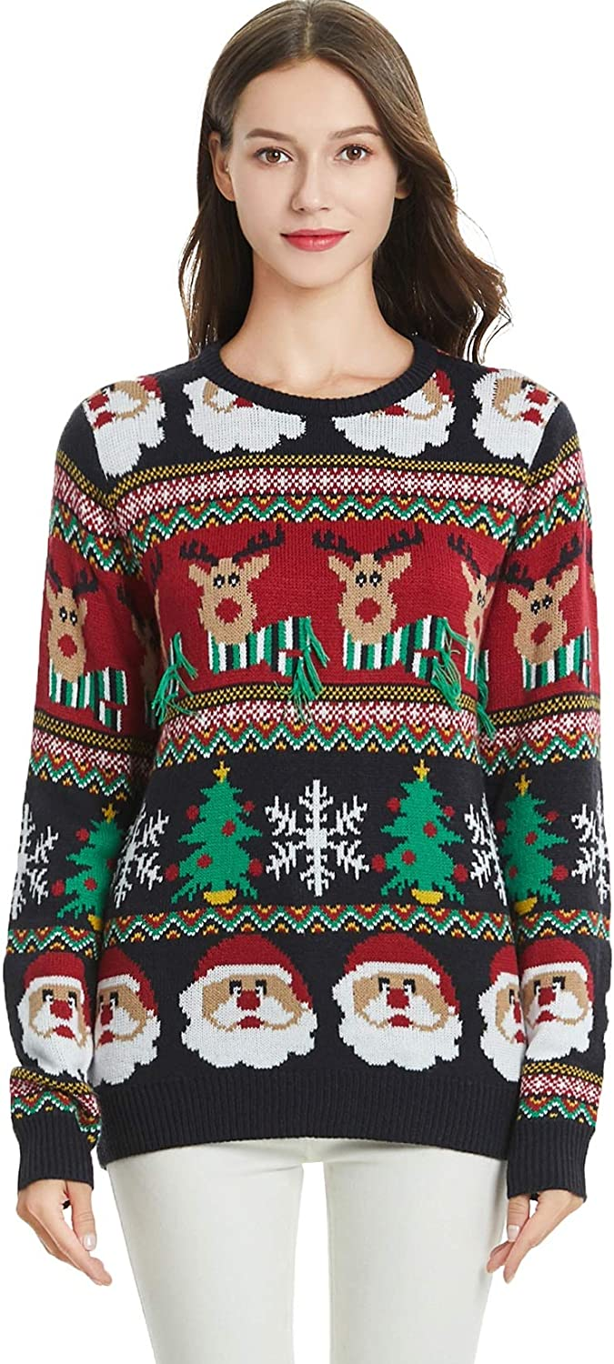 Womens Christmas Reindeer Themed Knitted Holiday Sweater Girl Pullover
