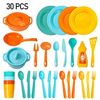 Muscccm Play Dishes Toys Kitchen Toys Set for Kids, 30 Pcs Pretend Play Cooking Toys Set for Kids Tableware Dishes Playset(Color Randomly)