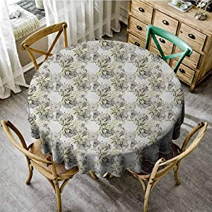 Garden Art,Round Solid Polyester Tablecloth,50 INCH,Doodle Floral Outlines and Dandelions Complex Arrangement of Plants,High-end Durable Creative Home,Dark Taupe Beige White