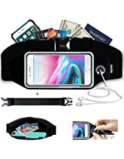 smartlle Running Belt, Waist Pack Best Fitness Belt for apple iPhone XS MAX, 8/7/6 Plus, Samsung S9/S8+, Note 8 9, IPhones + Accessories. Running Belts for Women & Men with Touch Window(Black)