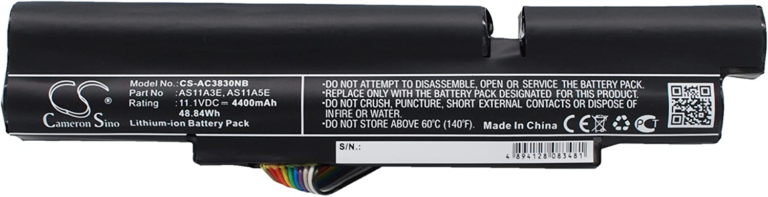 Battery Replacment for acer Aspire TimelineX 3830TG-2414G6 Aspire TimelineX 3830TG-6494 Aspire TimelineX 3830T Aspire TimelineX 3830TG Aspire TimelineX 4830T 3ICR19/66-2 3INR18/65-2 AS11A3E AS11A5E