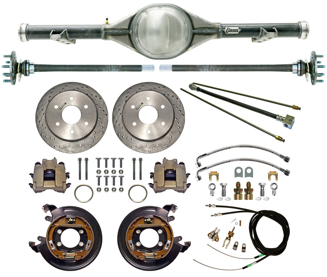 NEW CURRIE 70-87 CHEVY C-10 GMC C-15 C1500 TRUCK 2WD 6-LUG REAR END WITH DRILLED DISC BRAKES, BRAKE LINES, PARKING BRAKE CABLES, AXLES & BEARINGS, CHEVROLET C10 C15 1981 1982 1983 1984 by Southwest Speed