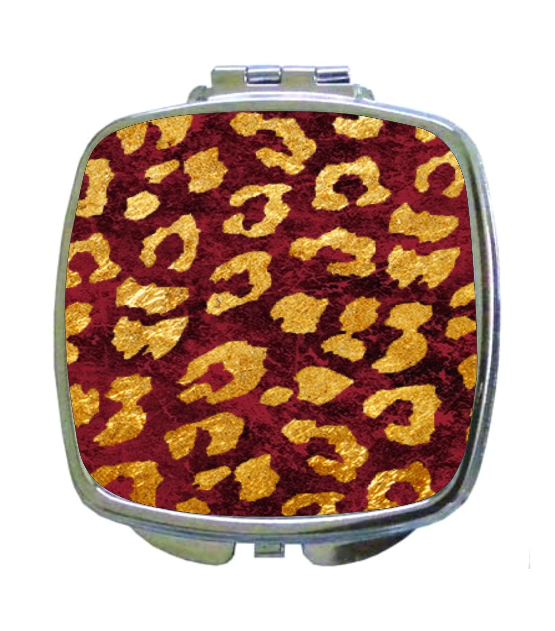 Grungy Gold Leopard Animal Print on Burgundy Grunge - Compact Square Makeup/Face Mirror