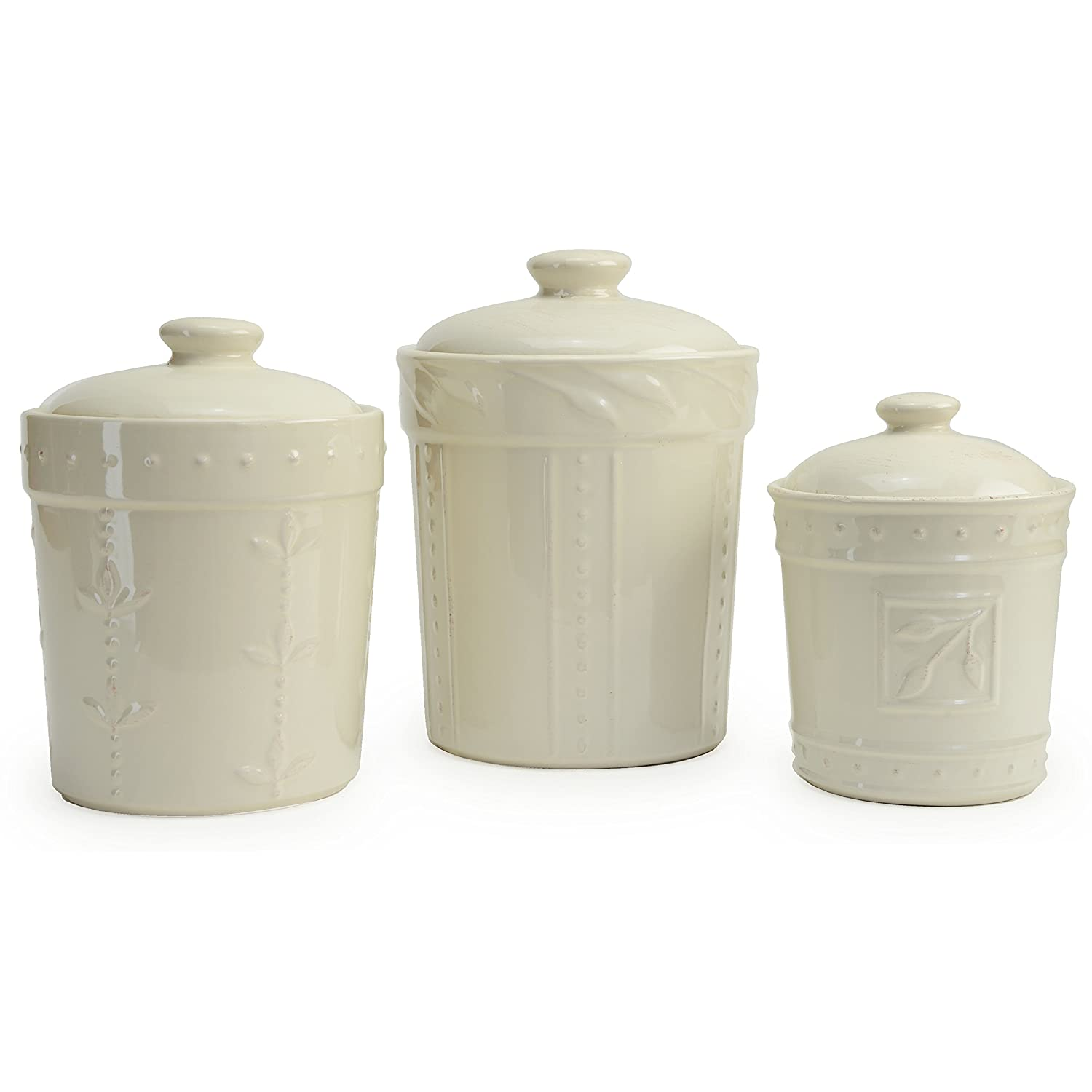 Signature Housewares Sorrento Collection Set of Three Canisters, 80 Ounce, 48 Ounce, 36 Ounce, Ivory 70726