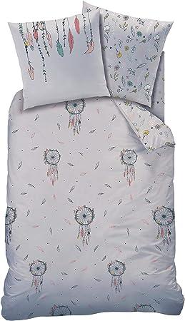 Ropa de cama gris 2 piezas – estilo boho – atrapasueños, plumas y flores – funda de almohada 80 x 80 + funda nórdica 135 x 200 cm – 100% algodón: Amazon.es: Hogar