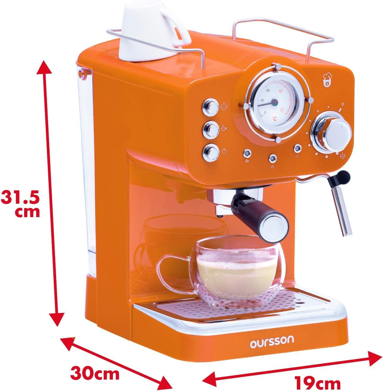 Oursson Máquina de Café Espresso - Cappuccino, Retro, 15 Bares, Vaporizador Orientable, Capacidad 1.25 l, Café Molido, EM1500 Serie (Naranja): Amazon.es: Hogar