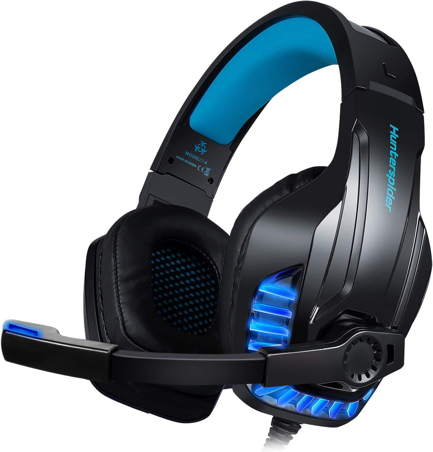 Galopar Auriculares Gaming para PS4, PC, Xbox One, Cascos Ruido Reducción de Diademas Cerrados Profesional con Micrófono Limpio Sonido 3.5mm - Azul