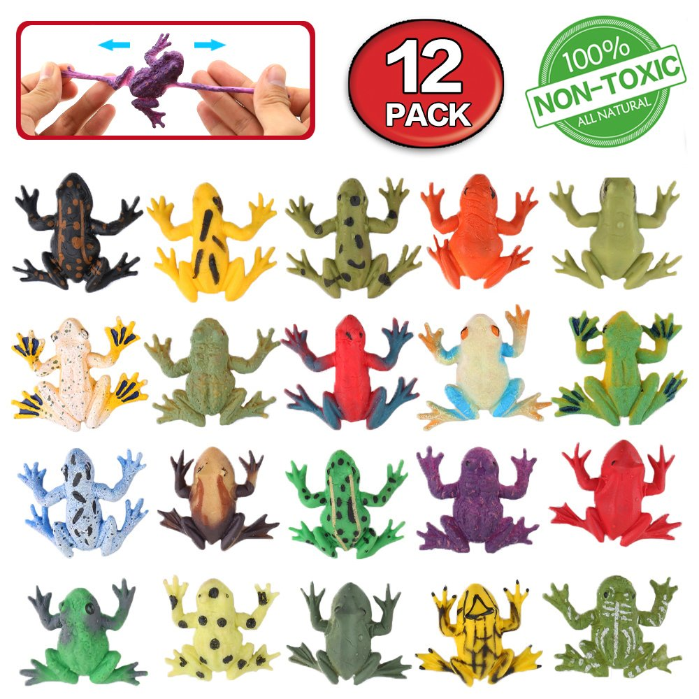 Frog Toys,12 Pack Mini Rubber Frog sets,Food Grade Material TPR Super Stretches,With Gift Bag And Learning Study Card,ValeforToy Realistic Frog Figure Squishy Toys For Boy