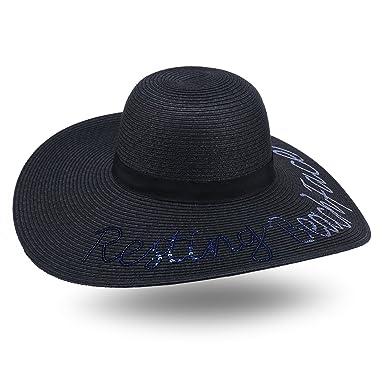 JOOWEN Women Sequined Beach Sand Wide Large Brim Straw Floppy Cap Sun Hat  (Black) 45e358682e4