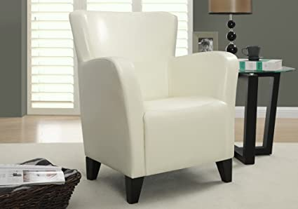 Monarch Specialties Upholstered Club Chair Accent Chair, Leather Look, Ivory