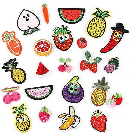 Parches de planchado, 20 parches de helado bordados, varios tamaños de decoración, ropa de costura, chaquetas, mochilas, faldas, parches de vaqueros Fruits and Vegetables: Amazon.es: Hogar