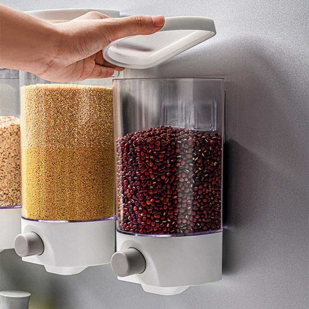 Wall Mounted Dry Food Dispenser, Storage Box Kitchen Rice Grain Storage Container, Sealed Dry Grain Storage Container Can Control the Output of Clear Plastic Food Containers large