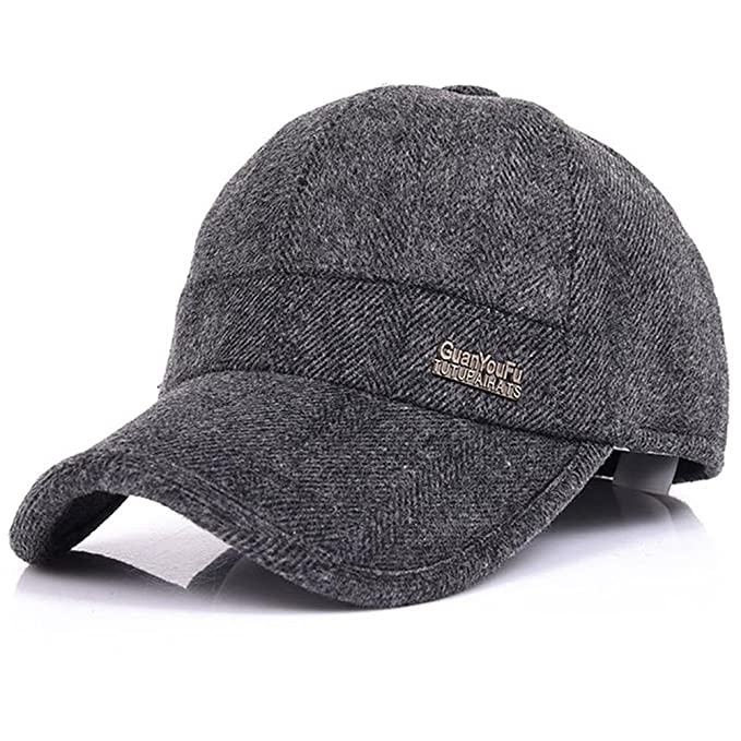 YAKER Men s Winter Warm Woolen Peaked Baseball Cap Hat with Earmuffs Metal  Buckle (Grey) at Amazon Men s Clothing store  1c0bf2e0958