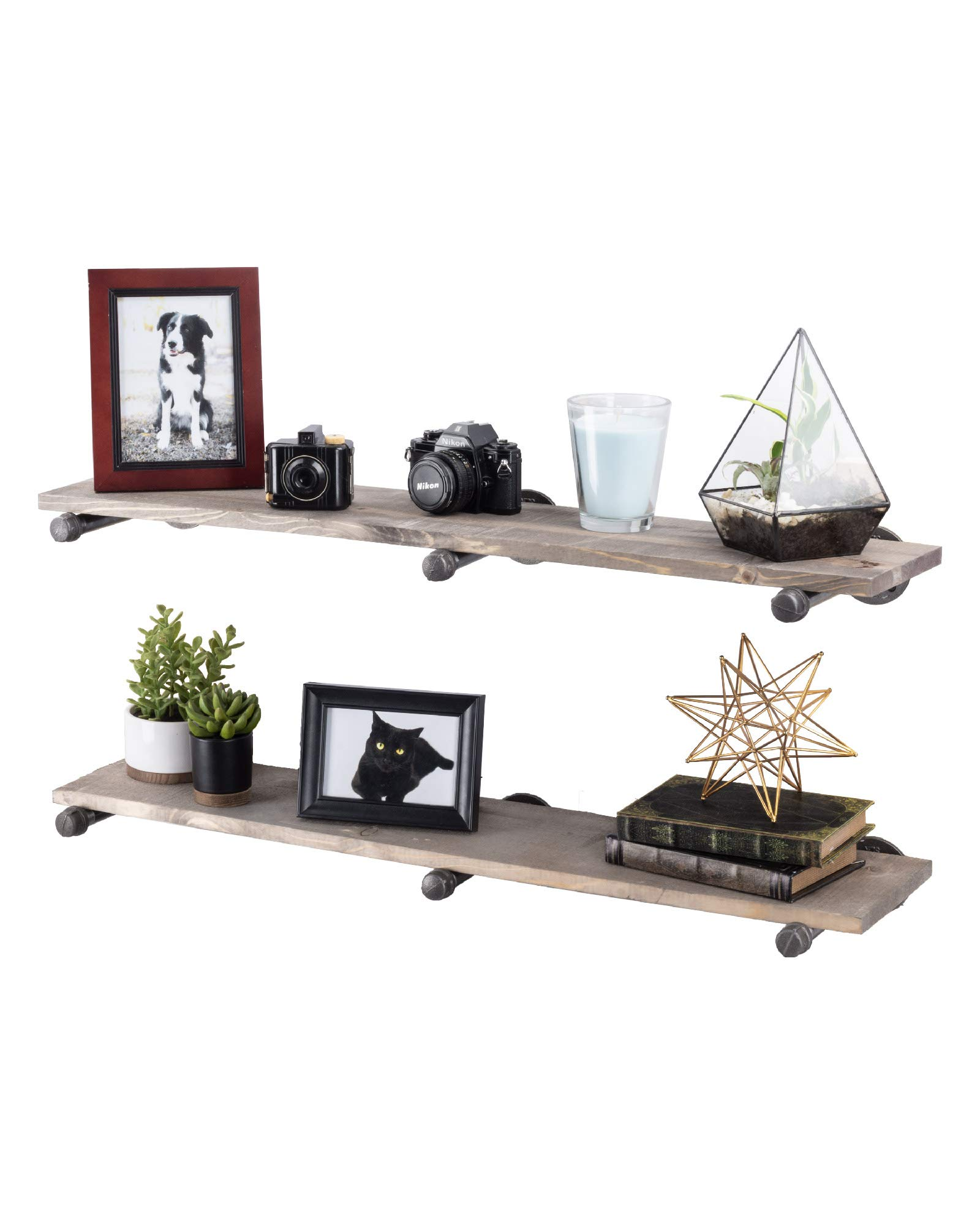 Rustic Industrial Pipe Bracket Floating Shelves by Pipe Decor, Distressed Aged Wood Paired with Iron Pipes, Wall Mounted Hanging Shelf, Reclaimed Barn Wood Inspired, 36 Inch Grey 2 Pack 6 Brackets