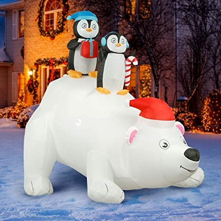 Gemmy 6.5ft Inflatable Fishing with Santa and Penguin on Polar Bear Airblown Indoor//Outdoor Holiday Decoration