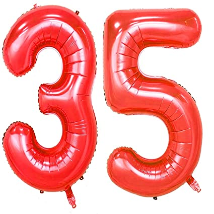 Amazon 40inch Red Foil 35 Helium Jumbo Digital Number Balloons