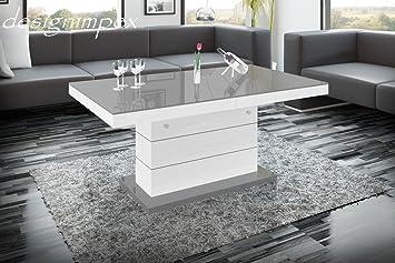 Couchtisch höhenverstellbar weiß  Design Couchtisch H-333 Weiß / Grau Hochglanz höhenverstellbar ...