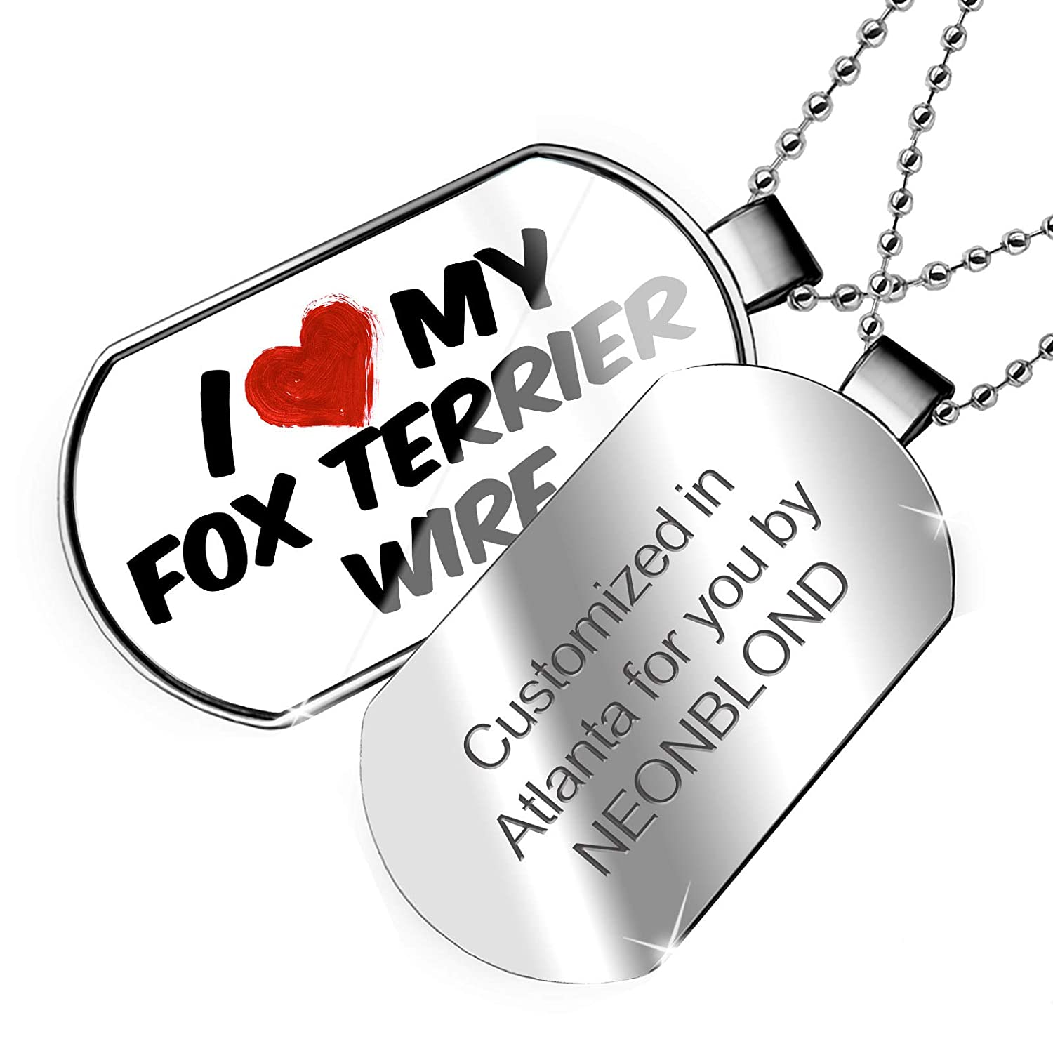 NEONBLOND Personalized Name Engraved I Love My Fox Terrier Wire Dog from England Dogtag Necklace